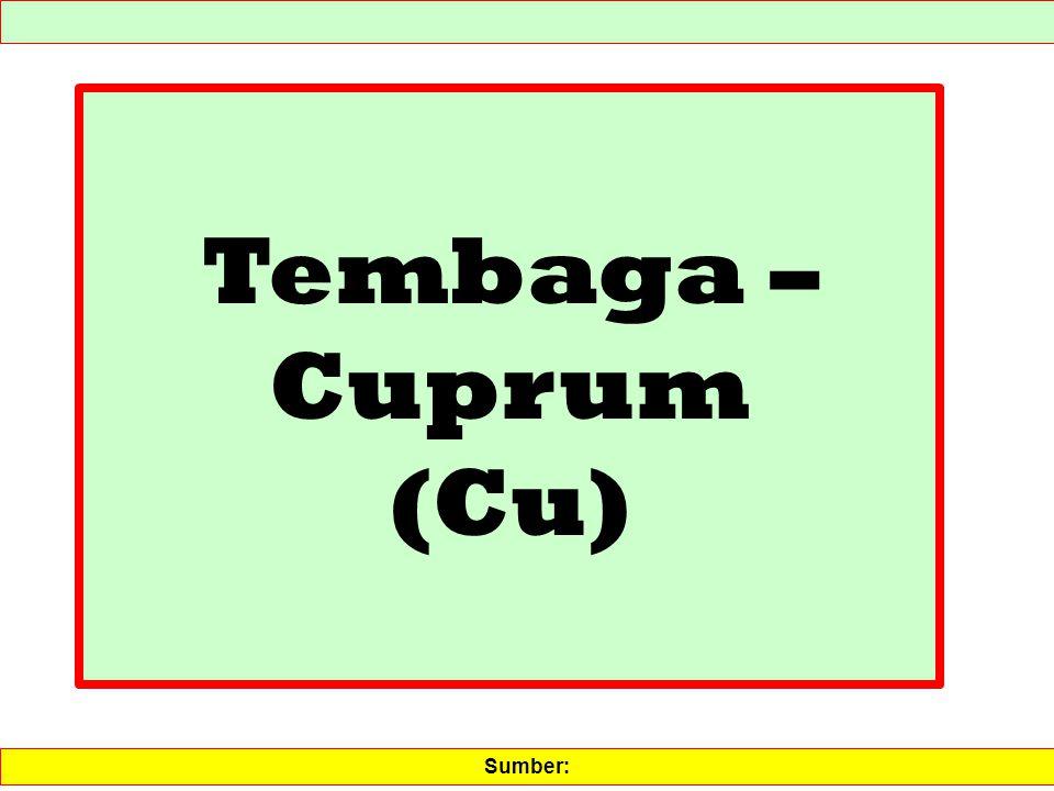 Tembaga – Cuprum (Cu) Sumber: