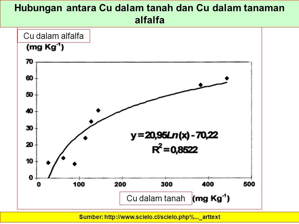 Hubungan antara Cu dalam tanah dan Cu dalam tanaman alfalfa Sumber: http://www.scielo.cl/scielo.php%..._arttext Cu dalam alfalfa Cu dalam tanah