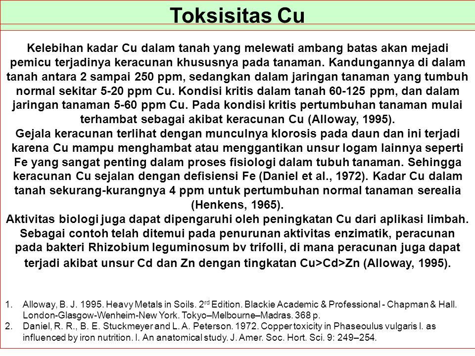 Toksisitas Cu Kelebihan kadar Cu dalam tanah yang melewati ambang batas akan mejadi pemicu terjadinya keracunan khususnya pada tanaman. Kandungannya d
