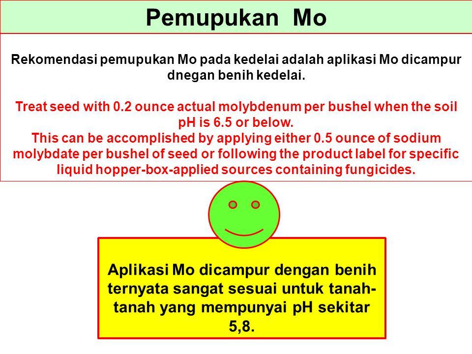 Pemupukan Mo Rekomendasi pemupukan Mo pada kedelai adalah aplikasi Mo dicampur dnegan benih kedelai. Treat seed with 0.2 ounce actual molybdenum per b