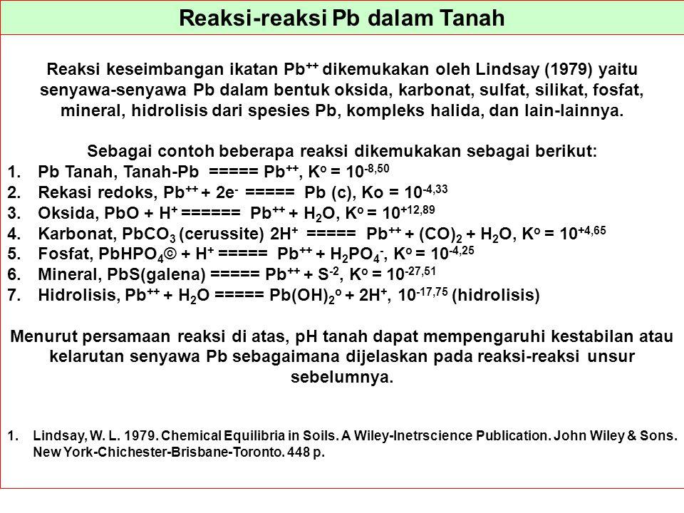 Reaksi-reaksi Pb dalam Tanah Reaksi keseimbangan ikatan Pb ++ dikemukakan oleh Lindsay (1979) yaitu senyawa-senyawa Pb dalam bentuk oksida, karbonat,
