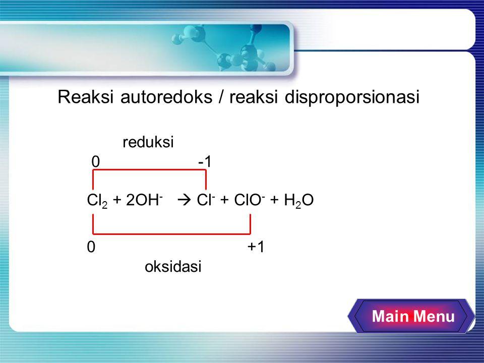 Main Menu Reaksi autoredoks / reaksi disproporsionasi reduksi 0 -1 Cl 2 + 2OH -  Cl - + ClO - + H 2 O 0 +1 oksidasi