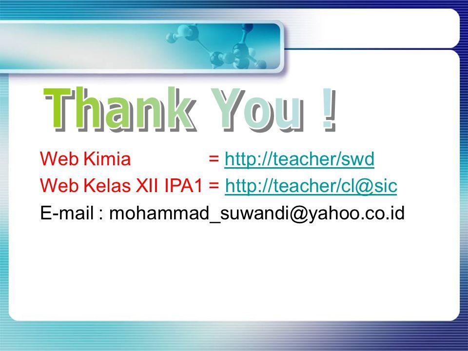 Web Kimia = http://teacher/swdhttp://teacher/swd Web Kelas XII IPA1 = http://teacher/cl@sichttp://teacher/cl@sic E-mail : mohammad_suwandi@yahoo.co.id