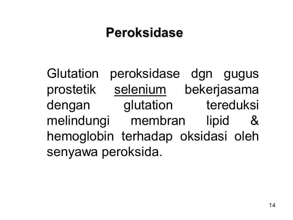 14 Peroksidase Glutation peroksidase dgn gugus prostetik selenium bekerjasama dengan glutation tereduksi melindungi membran lipid & hemoglobin terhadap oksidasi oleh senyawa peroksida.