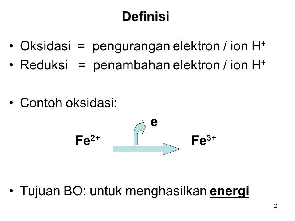 2 Definisi Oksidasi = pengurangan elektron / ion H + Reduksi = penambahan elektron / ion H + Contoh oksidasi: e Fe 2+ Fe 3+ Tujuan BO: untuk menghasilkan energi