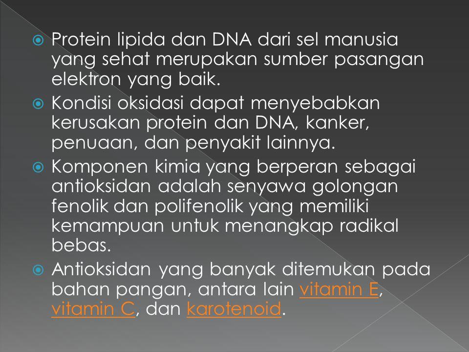  Protein lipida dan DNA dari sel manusia yang sehat merupakan sumber pasangan elektron yang baik.  Kondisi oksidasi dapat menyebabkan kerusakan prot