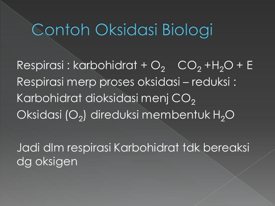 Respirasi : karbohidrat + O 2 CO 2 +H 2 O + E Respirasi merp proses oksidasi – reduksi : Karbohidrat dioksidasi menj CO 2 Oksidasi (O 2 ) direduksi me