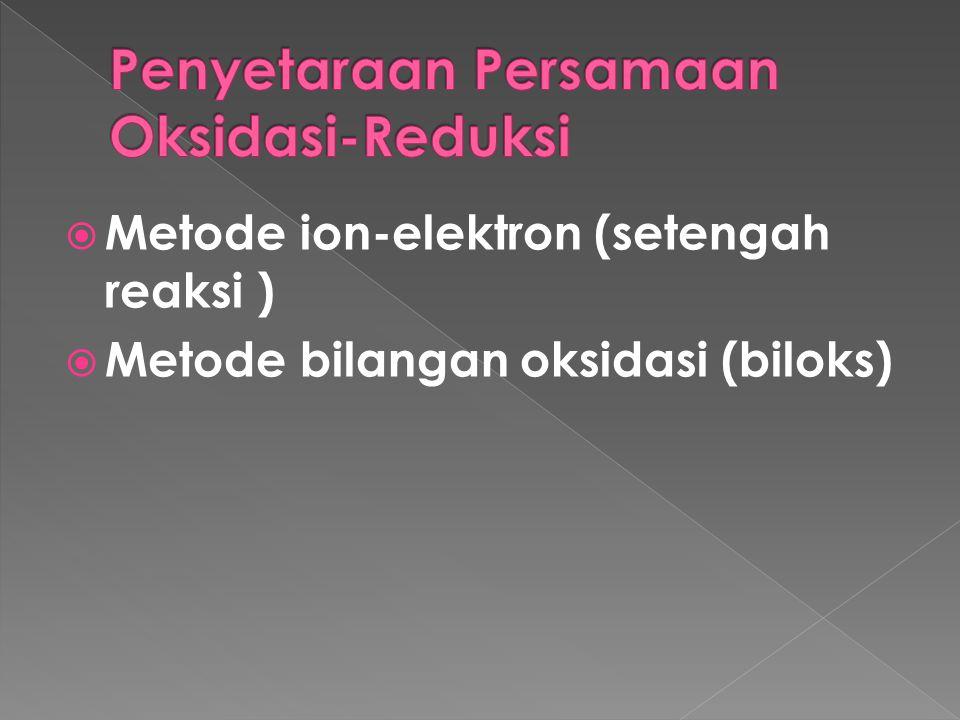  Metode ion-elektron (setengah reaksi )  Metode bilangan oksidasi (biloks)
