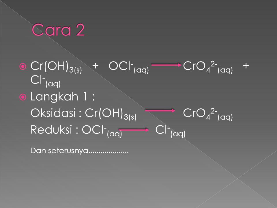  Cr(OH) 3(s) + OCl - (aq) CrO 4 2- (aq) + Cl - (aq)  Langkah 1 : Oksidasi : Cr(OH) 3(s) CrO 4 2- (aq) Reduksi : OCl - (aq) Cl - (aq) Dan seterusnya.