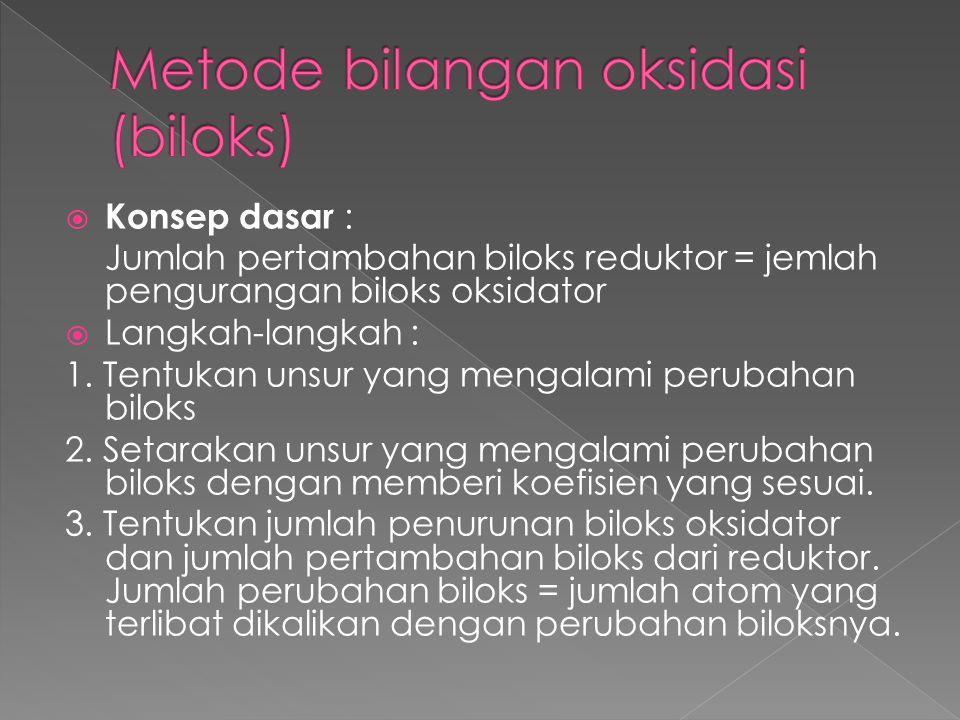  Konsep dasar : Jumlah pertambahan biloks reduktor = jemlah pengurangan biloks oksidator  Langkah-langkah : 1. Tentukan unsur yang mengalami perubah