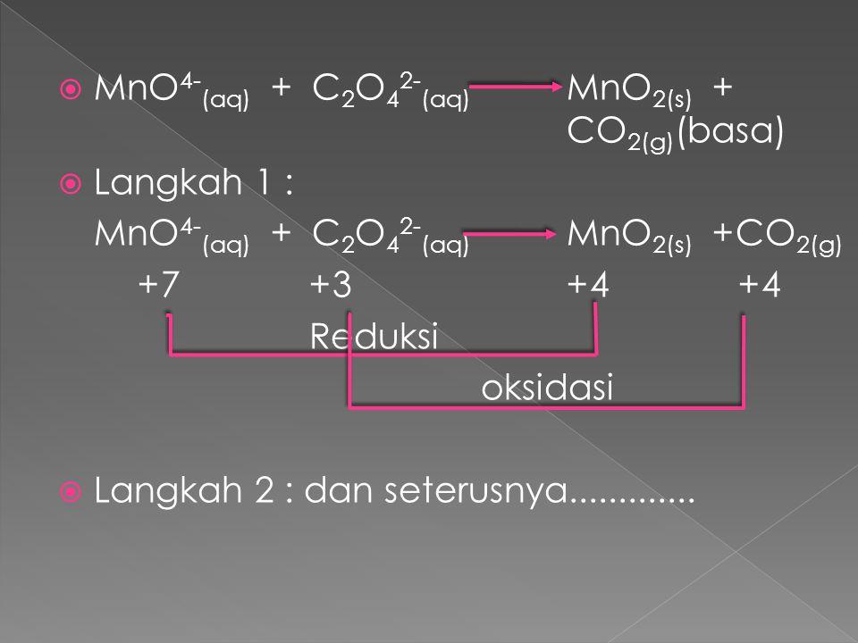  MnO 4- (aq) + C 2 O 4 2- (aq) MnO 2(s) + CO 2(g) (basa)  Langkah 1 : MnO 4- (aq) + C 2 O 4 2- (aq) MnO 2(s) +CO 2(g) +7+3+4+4 Reduksi oksidasi  La
