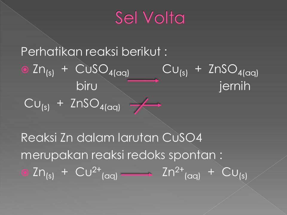 Perhatikan reaksi berikut :  Zn (s) + CuSO 4(aq) Cu (s) + ZnSO 4(aq) birujernih Cu (s) + ZnSO 4(aq) Reaksi Zn dalam larutan CuSO4 merupakan reaksi re