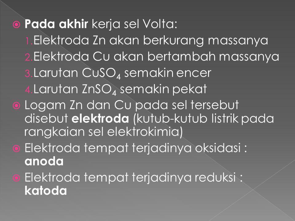 Pada akhir kerja sel Volta: 1. Elektroda Zn akan berkurang massanya 2. Elektroda Cu akan bertambah massanya 3. Larutan CuSO 4 semakin encer 4. Larut