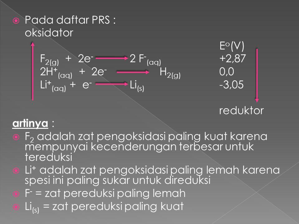  Pada daftar PRS : oksidator E o (V) F 2(g) + 2e - 2 F - (aq) +2,87 2H + (aq) + 2e - H 2(g) 0,0 Li + (aq) + e - Li (s) -3,05 reduktor artinya :  F 2