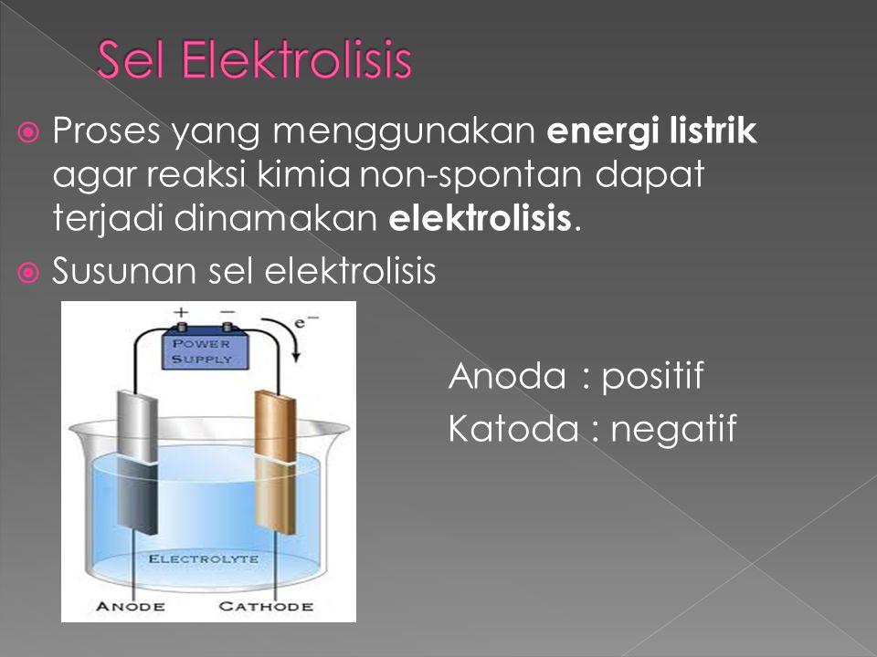  Proses yang menggunakan energi listrik agar reaksi kimia non-spontan dapat terjadi dinamakan elektrolisis.  Susunan sel elektrolisis Anoda : positi