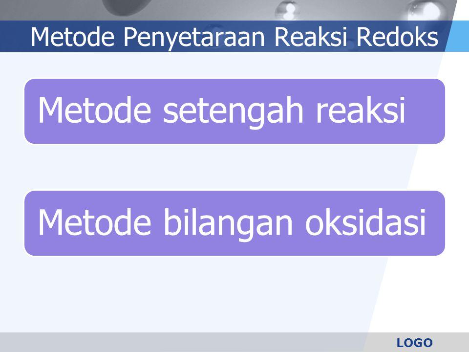 LOGO Metode Penyetaraan Reaksi Redoks Metode setengah reaksiMetode bilangan oksidasi