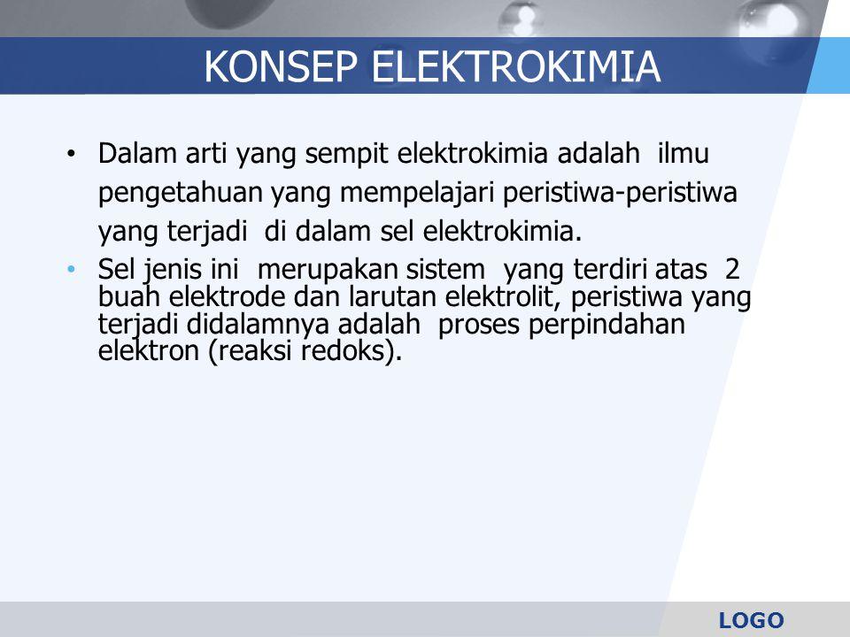 LOGO KONSEP ELEKTROKIMIA Dalam arti yang sempit elektrokimia adalah ilmu pengetahuan yang mempelajari peristiwa-peristiwa yang terjadi di dalam sel elektrokimia.