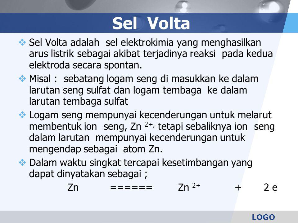 LOGO Sel Volta  Sel Volta adalah sel elektrokimia yang menghasilkan arus listrik sebagai akibat terjadinya reaksi pada kedua elektroda secara spontan.