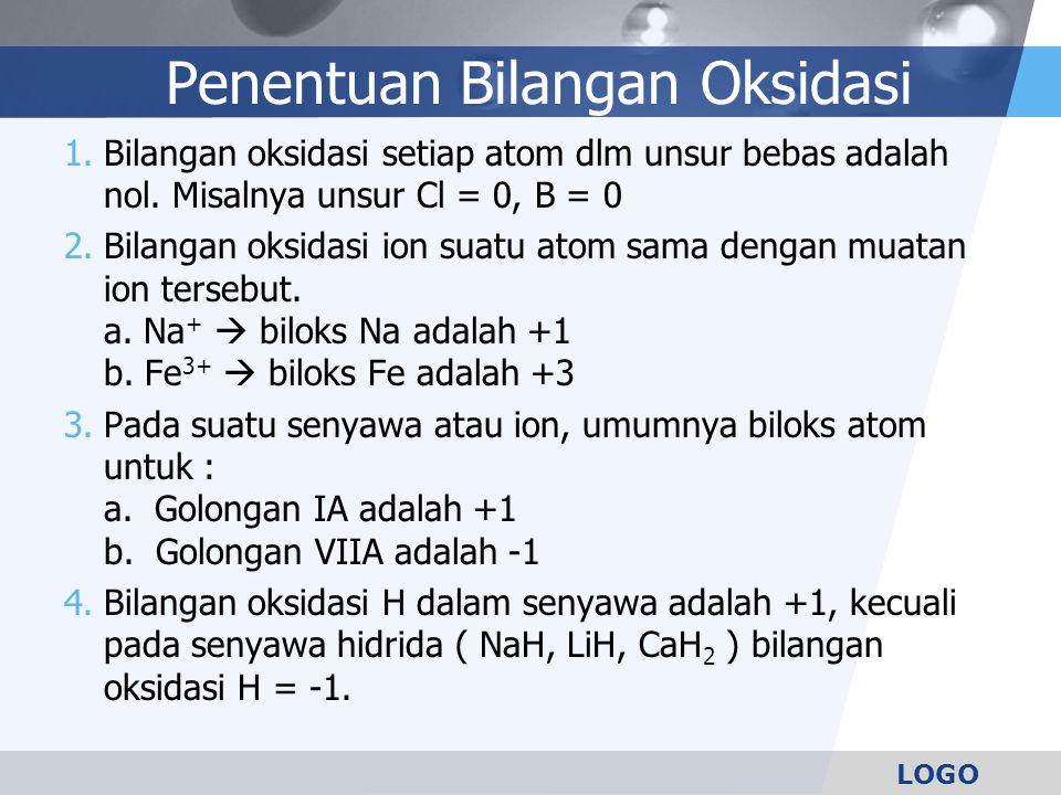 LOGO 5.Bilangan oksidasi O dlm senyawa adalah -2, kecuali pada senyawa peroksida seperti H 2 O 2 bilangan oksidasi O adalah -1.