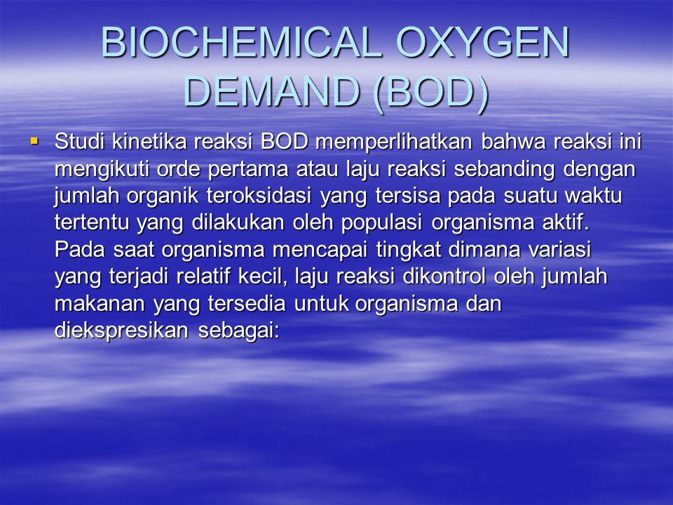 BIOCHEMICAL OXYGEN DEMAND (BOD)  Studi kinetika reaksi BOD memperlihatkan bahwa reaksi ini mengikuti orde pertama atau laju reaksi sebanding dengan j