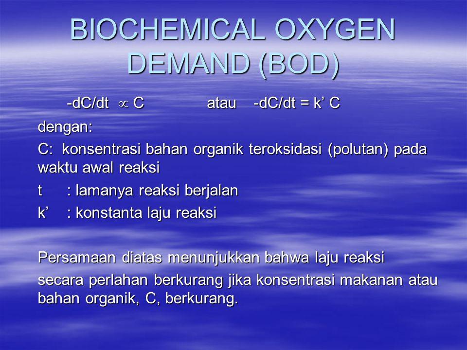 BIOCHEMICAL OXYGEN DEMAND (BOD) -dC/dt  Catau-dC/dt = k' C dengan: C: konsentrasi bahan organik teroksidasi (polutan) pada waktu awal reaksi t: laman