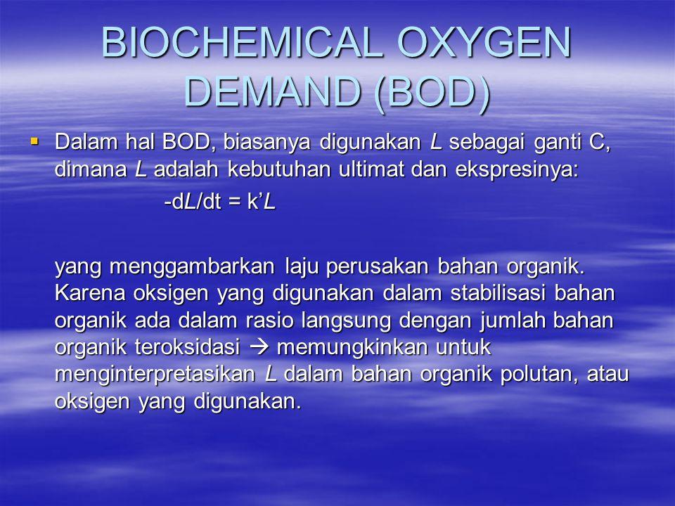 BIOCHEMICAL OXYGEN DEMAND (BOD)  Dalam hal BOD, biasanya digunakan L sebagai ganti C, dimana L adalah kebutuhan ultimat dan ekspresinya: -dL/dt = k'L
