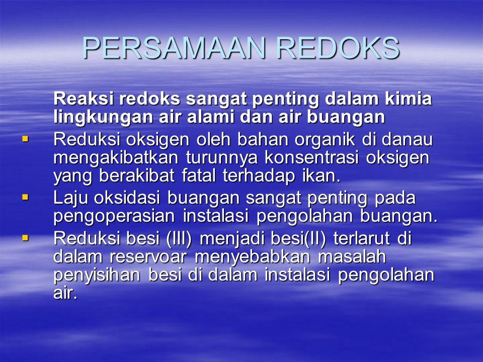 PERSAMAAN REDOKS Reaksi redoks sangat penting dalam kimia lingkungan air alami dan air buangan  Reduksi oksigen oleh bahan organik di danau mengakiba