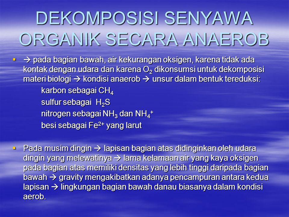 DEKOMPOSISI SENYAWA ORGANIK SECARA ANAEROB  pada bagian bawah, air kekurangan oksigen, karena tidak ada kontak dengan udara dan karena O 2 dikonsums