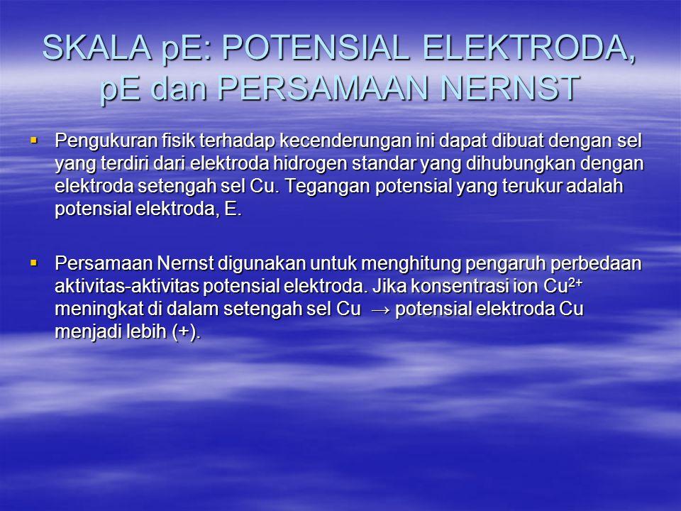SKALA pE: POTENSIAL ELEKTRODA, pE dan PERSAMAAN NERNST  Pengukuran fisik terhadap kecenderungan ini dapat dibuat dengan sel yang terdiri dari elektro