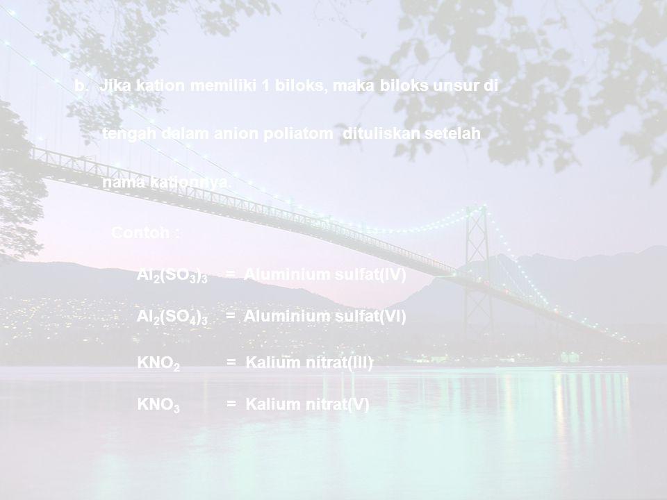 b.Jika kation memiliki 1 biloks, maka biloks unsur di tengah dalam anion poliatom dituliskan setelah nama kationnya. Contoh : Al 2 (SO 3 ) 3 = Alumini