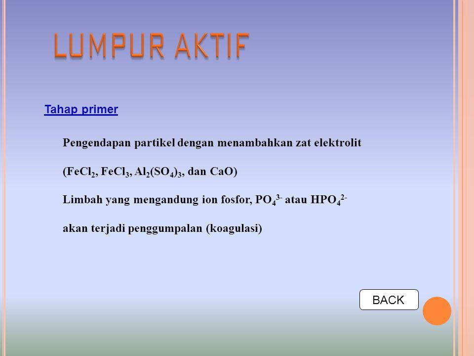 Tahap primer Pengendapan partikel dengan menambahkan zat elektrolit (FeCl 2, FeCl 3, Al 2 (SO 4 ) 3, dan CaO) Limbah yang mengandung ion fosfor, PO 4 3- atau HPO 4 2- akan terjadi penggumpalan (koagulasi) BACK