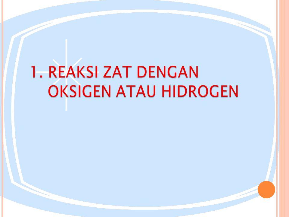 REDUKSI merupakan reaksi suatu zat yang melepaskan oksigen atau reaksi zat dengan hidrogen Contoh : Ag 2 O(s) + H 2 (g) 2Ag(g) + H2O(g) HgO(s) Hg(l) + O2(g)