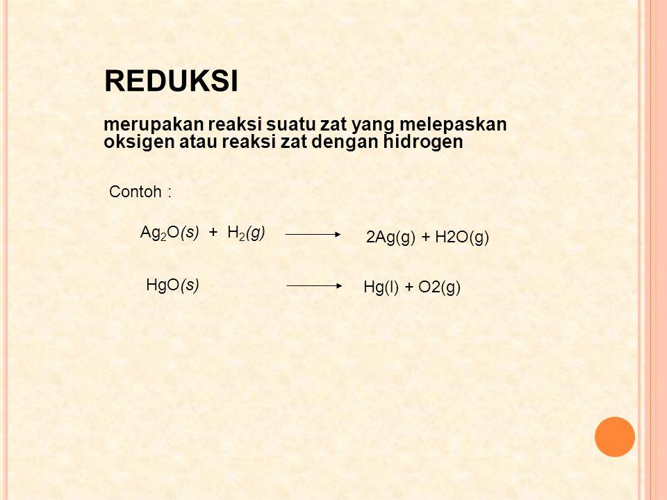 REDUKSI merupakan reaksi suatu zat yang melepaskan oksigen atau reaksi zat dengan hidrogen Contoh : Ag 2 O(s) + H 2 (g) 2Ag(g) + H2O(g) HgO(s) Hg(l) +
