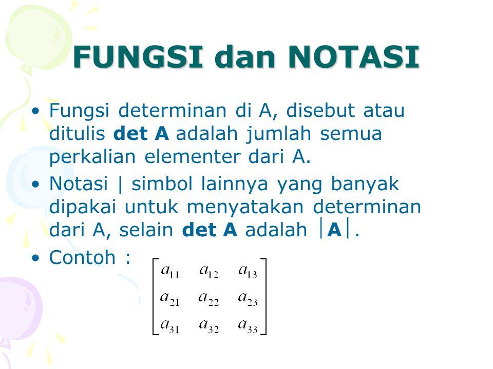 FUNGSI dan NOTASI Fungsi determinan di A, disebut atau ditulis det A adalah jumlah semua perkalian elementer dari A. Notasi | simbol lainnya yang bany