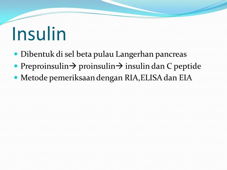 Insulin Dibentuk di sel beta pulau Langerhan pancreas Preproinsulin  proinsulin  insulin dan C peptide Metode pemeriksaan dengan RIA,ELISA dan EIA