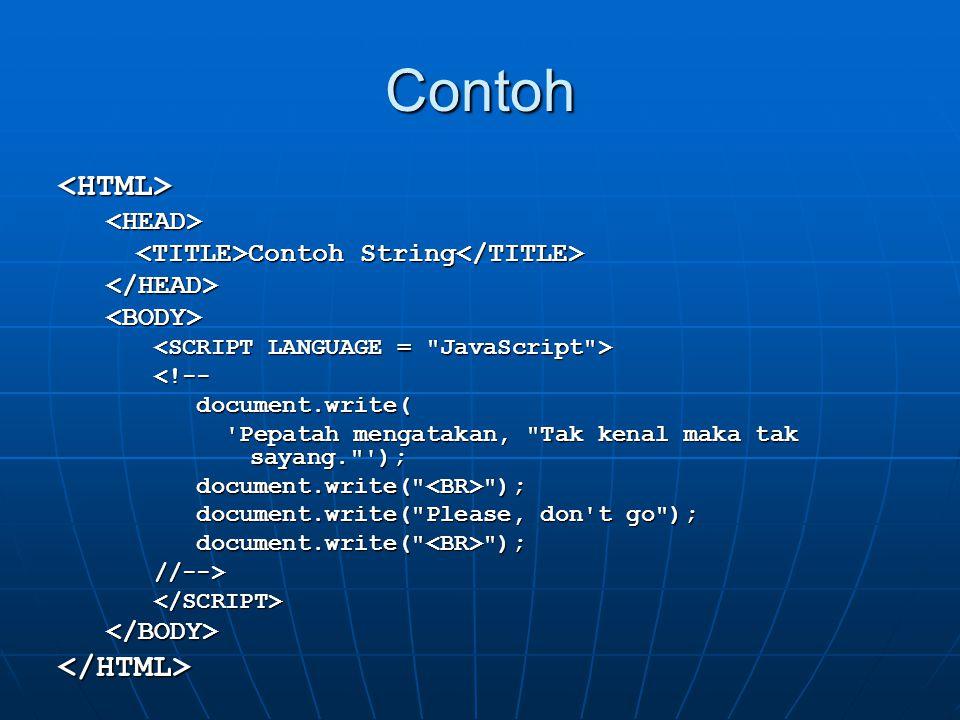 Contoh <HTML><HEAD> Contoh String Contoh String </HEAD><BODY> <!-- document.write( document.write( 'Pepatah mengatakan,
