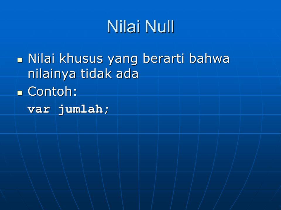 Nilai Null Nilai khusus yang berarti bahwa nilainya tidak ada Nilai khusus yang berarti bahwa nilainya tidak ada Contoh: Contoh: var jumlah;