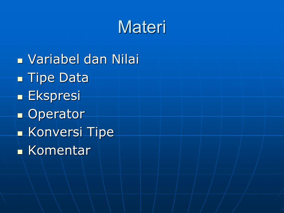 Materi Variabel dan Nilai Variabel dan Nilai Tipe Data Tipe Data Ekspresi Ekspresi Operator Operator Konversi Tipe Konversi Tipe Komentar Komentar