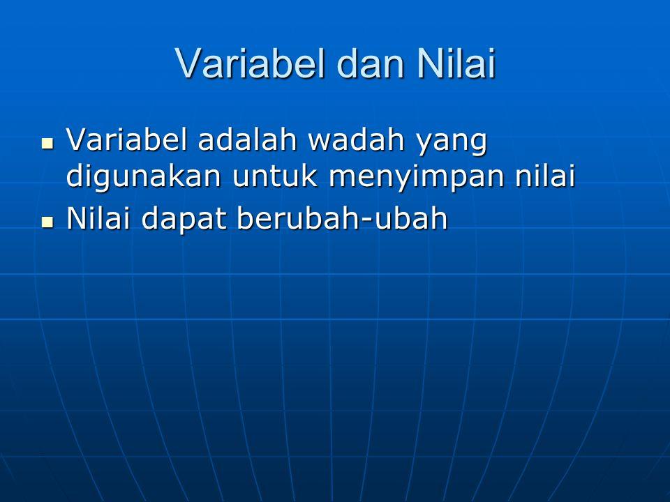 Variabel dan Nilai Variabel adalah wadah yang digunakan untuk menyimpan nilai Variabel adalah wadah yang digunakan untuk menyimpan nilai Nilai dapat b