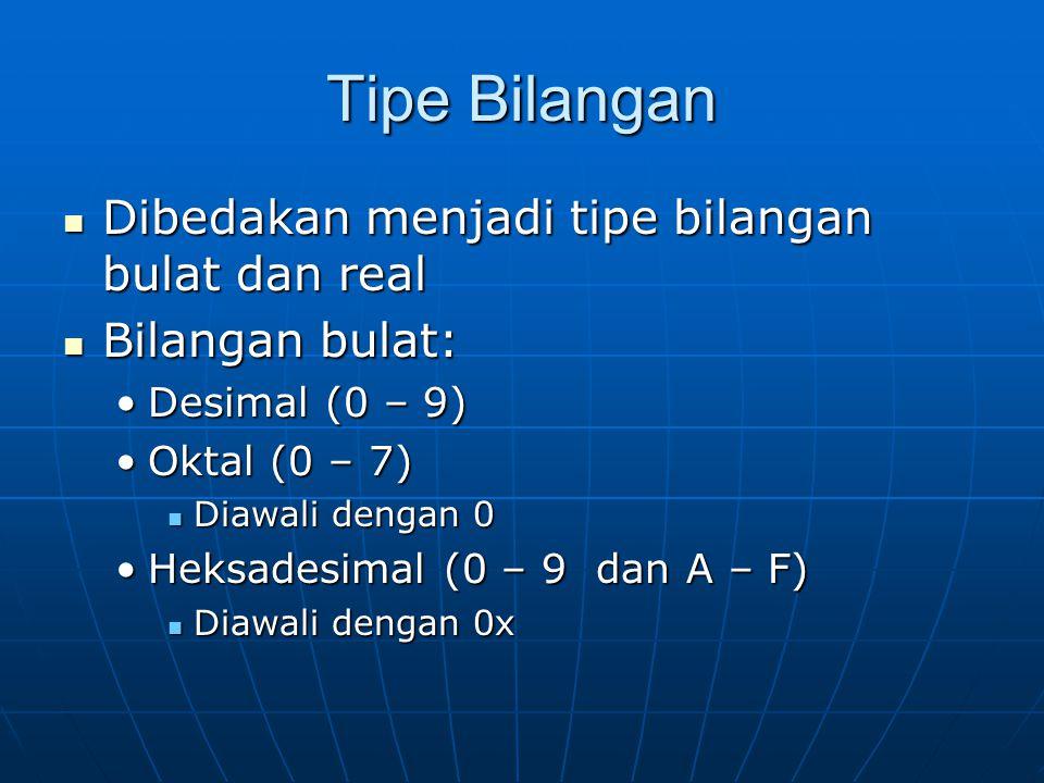 Tipe Bilangan Dibedakan menjadi tipe bilangan bulat dan real Dibedakan menjadi tipe bilangan bulat dan real Bilangan bulat: Bilangan bulat: Desimal (0