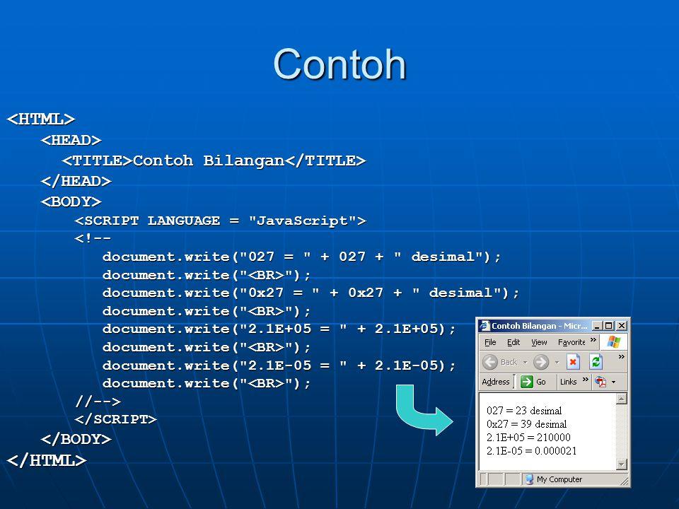Contoh <HTML><HEAD> Contoh Bilangan Contoh Bilangan </HEAD><BODY> <!-- document.write(