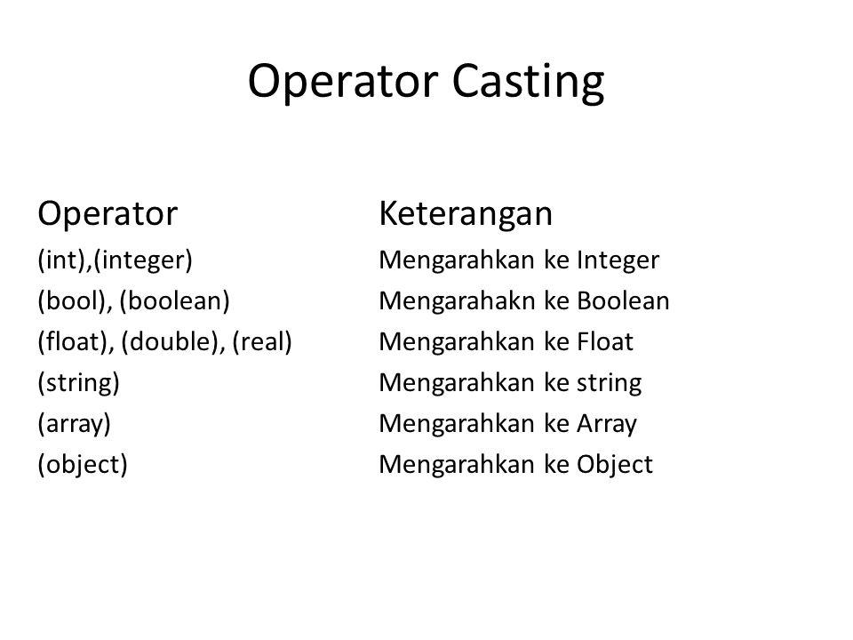 Operator Casting OperatorKeterangan (int),(integer)Mengarahkan ke Integer (bool), (boolean)Mengarahakn ke Boolean (float), (double), (real)Mengarahkan ke Float (string)Mengarahkan ke string (array)Mengarahkan ke Array (object)Mengarahkan ke Object