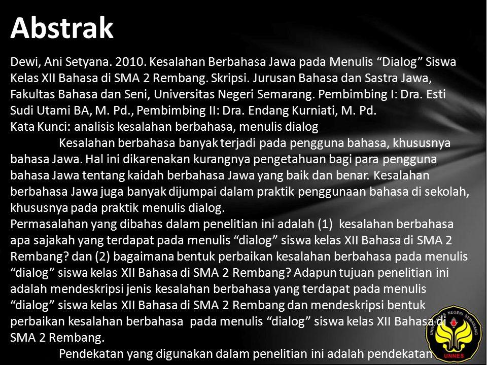 Abstrak Dewi, Ani Setyana. 2010.