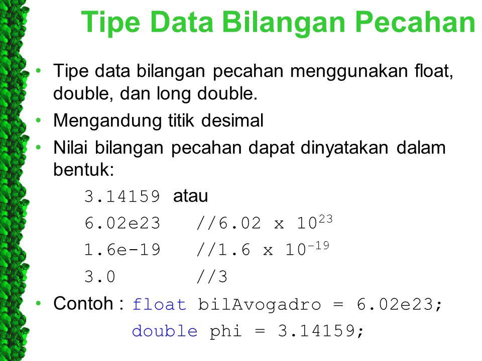 Tipe Data Bilangan Pecahan Tipe data bilangan pecahan menggunakan float, double, dan long double. Mengandung titik desimal Nilai bilangan pecahan dapa