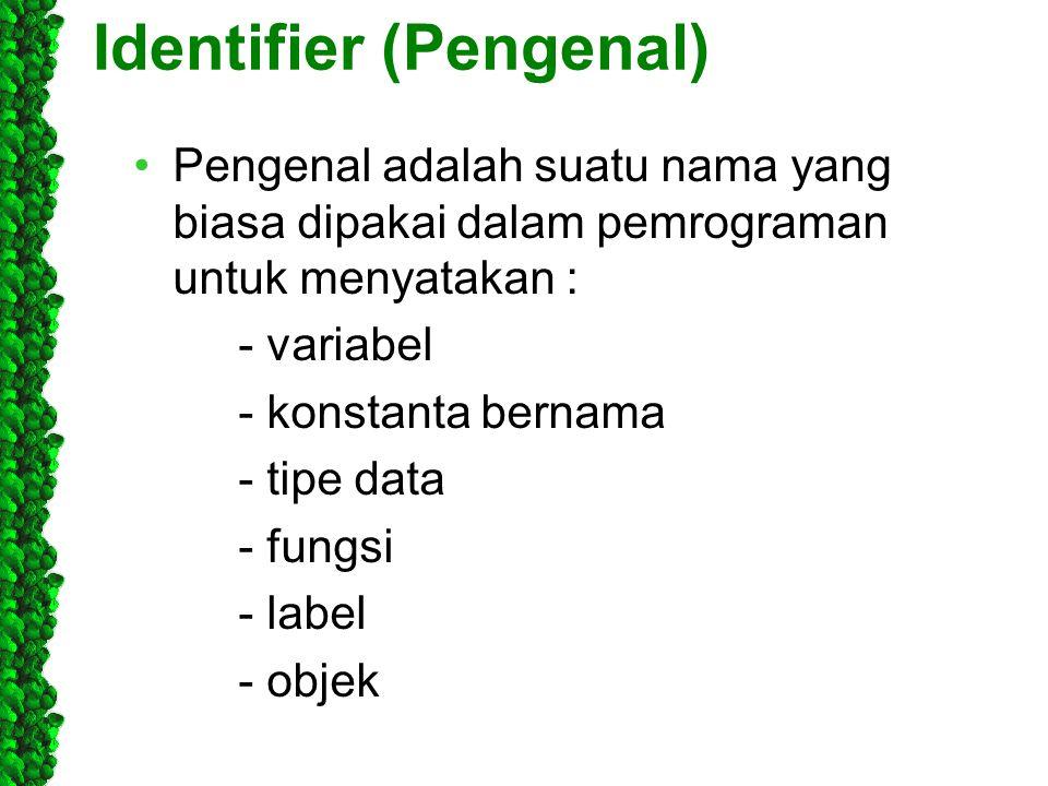 Identifier (Pengenal) Pengenal adalah suatu nama yang biasa dipakai dalam pemrograman untuk menyatakan : - variabel - konstanta bernama - tipe data -