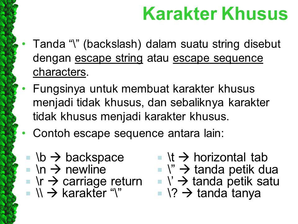 """Karakter Khusus Tanda """"\"""" (backslash) dalam suatu string disebut dengan escape string atau escape sequence characters. Fungsinya untuk membuat karakte"""