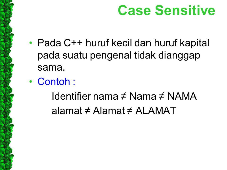 Case Sensitive Pada C++ huruf kecil dan huruf kapital pada suatu pengenal tidak dianggap sama. Contoh : Identifier nama ≠ Nama ≠ NAMA alamat ≠ Alamat