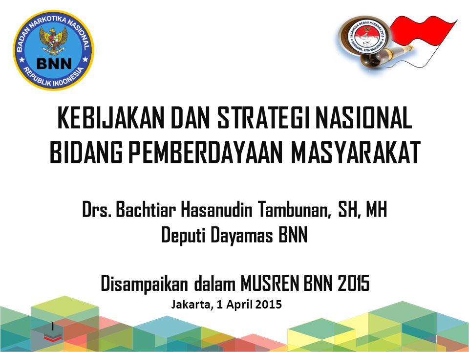 KEBIJAKAN DAN STRATEGI NASIONAL BIDANG PEMBERDAYAAN MASYARAKAT Jakarta, 1 April 2015 1 Disampaikan dalam MUSREN BNN 2015 Drs.