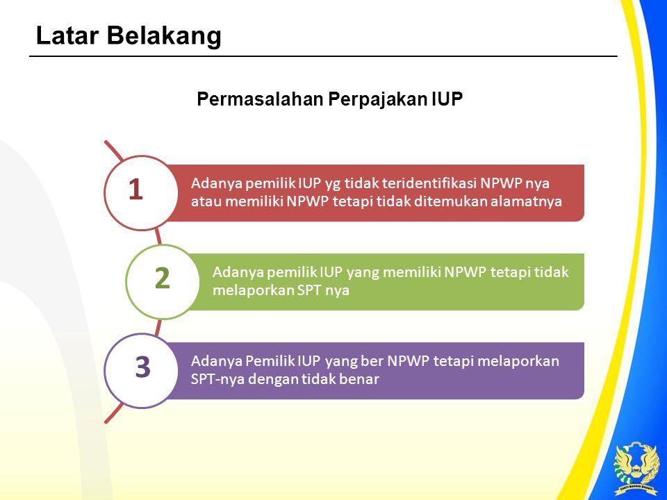 KPK, Kementerian ESDM, DJP Data IUP Nasional Pemegang IUP 7.519 (100%) Ber-NPWP 6.297 (84%) Lapor SPT 5.5557 (88%) Tidak Lapor SPT 740 (12%) NPWP Belum Teridentifikasi* 1.222 (16%) Jumlah IUP : 10.594 Periode Pajak = 2010 s.d.