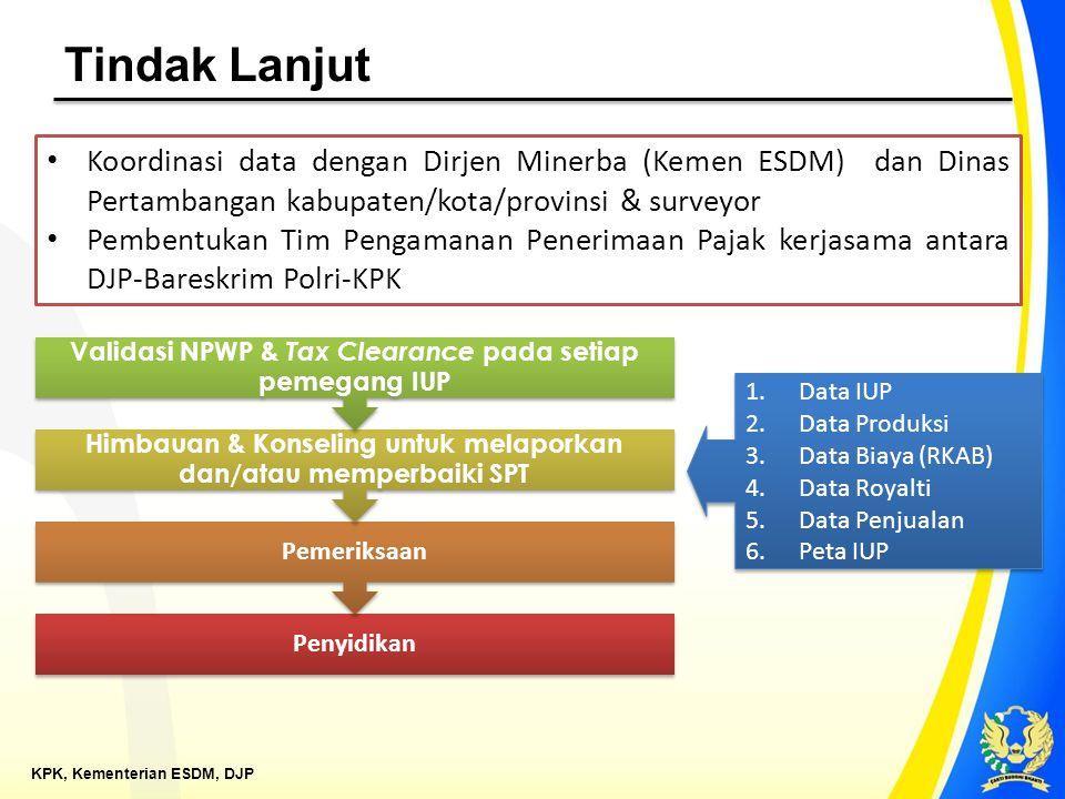 KPK, Kementerian ESDM, DJP Tindak Lanjut Koordinasi data dengan Dirjen Minerba (Kemen ESDM) dan Dinas Pertambangan kabupaten/kota/provinsi & surveyor
